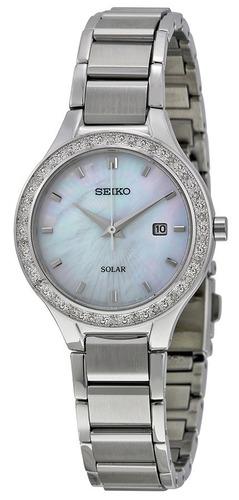 reloj seiko solar diamond acero inoxidable mujer sut135