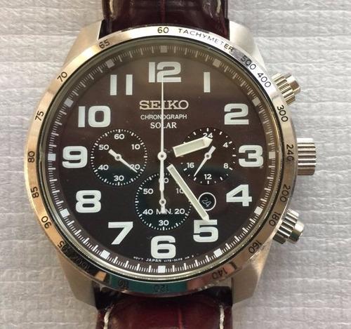 reloj seiko solar ssc227 tachy meter chronograph