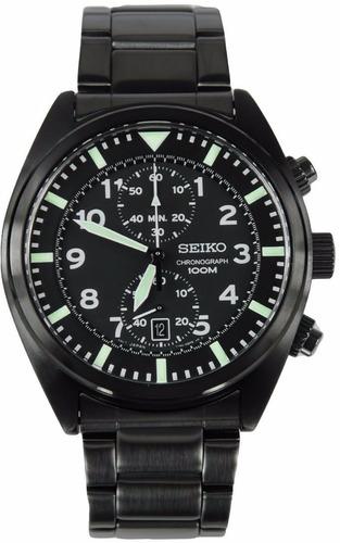 reloj seiko sports acero inoxidable negro cronografo snn233