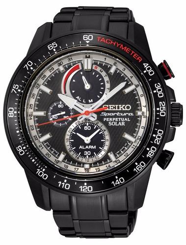 reloj seiko sportura solar acero negro alarma hombre ssc373