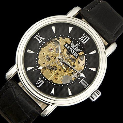reloj sewor para hombre c1121 mecánico con correa de cuero