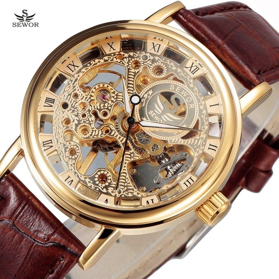 Mecanico Sewor Skeleton Reloj Sew023 G f6IbgYv7ym