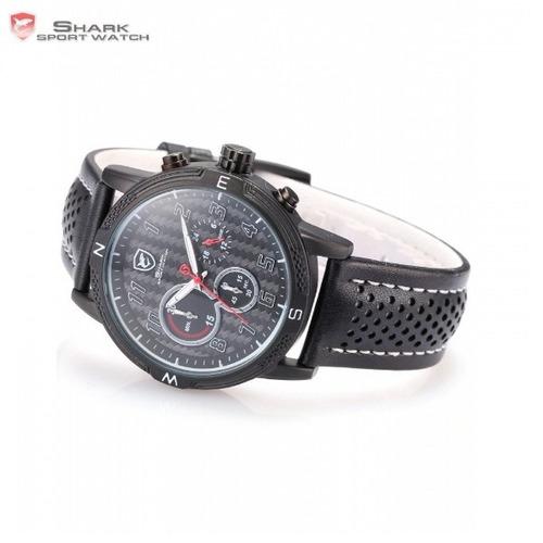 reloj shark blackspot - cronógrafo cuero -tienda