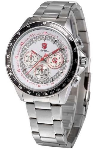 reloj shark bramble blanco - cronógrafo 6 agujas original
