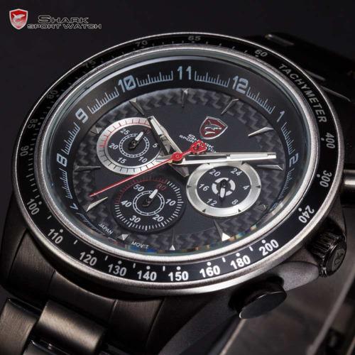 reloj shark bramble negro - cronógrafo 100% original