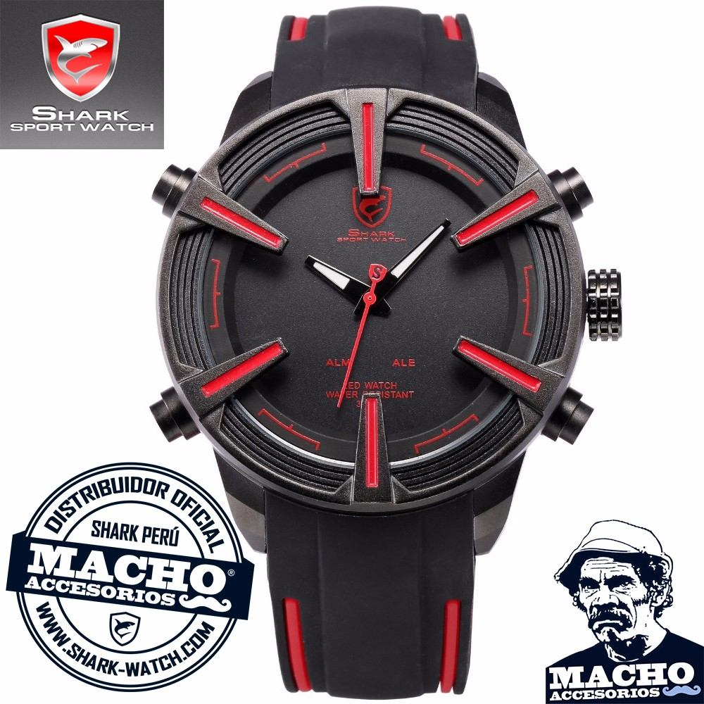 reloj shark dogfish - led - acero inox - silicona - colores