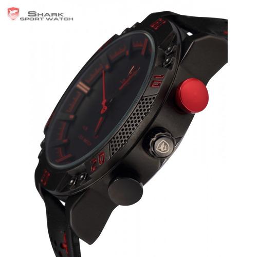 reloj shark kitefin - led deportivo cuero 100% original