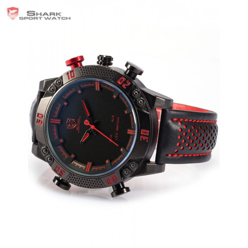 reloj shark kitefin rojo - led deportivo cuero - tienda