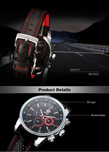 reloj shark pacific - 6 agujas cuero deportivo 100% original