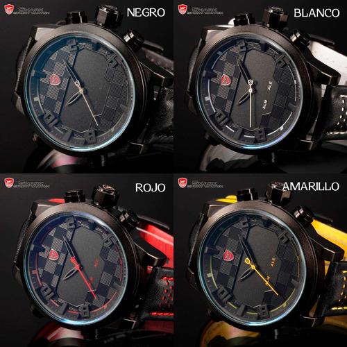 reloj shark sawback angel - led - acero inox cuero - colores