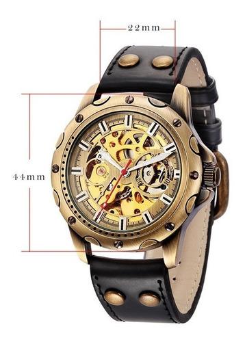 reloj shenhua retro automatico malla cuero vintage w.resist