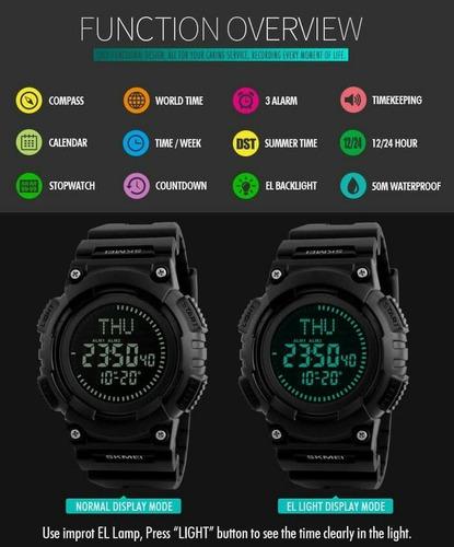 reloj skmei 1259 con brújula digital led resistente al agua