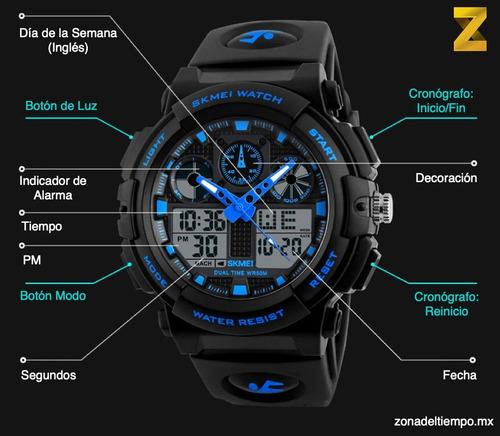 reloj skmei 1270 uso rudo militar aviador cronometro luz