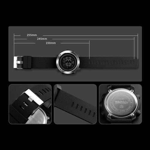 reloj skmei digital pantalla negra aro acero resiste 50 m