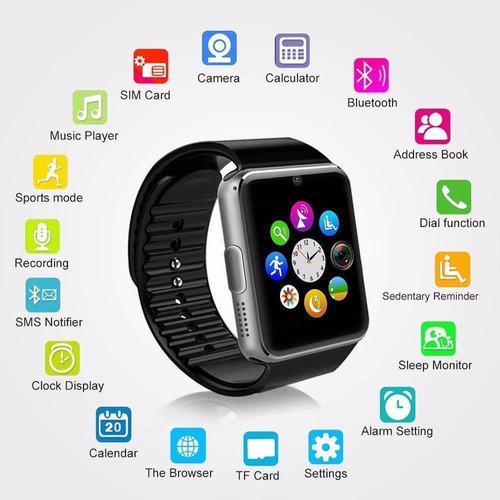 reloj smart watch gt08 telefono android iphone samsung sim