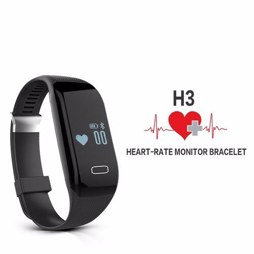 reloj smartband h3 monitor cardíaco podómetro android iphone