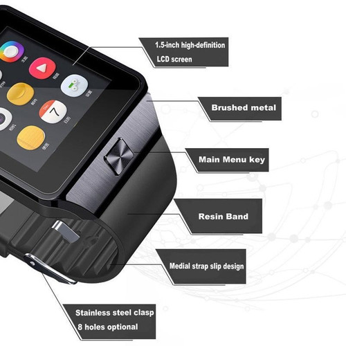 reloj smartwatch celular con chip, touch, camara, micro sd