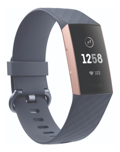 reloj smartwatch fitbit charge 3 fitness (azul/oro) sin nfc