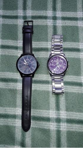 reloj stainless back color negro y correa de cuero