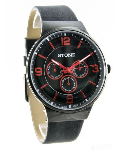 reloj stone hombre analogico malla cuero varios colores off!