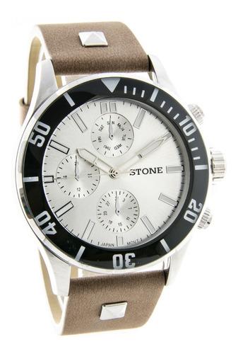 reloj stone hombre original malla cuero cuotas gtia oficial!