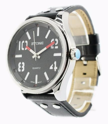 reloj stone quartz acero big black cuero garantia oficial