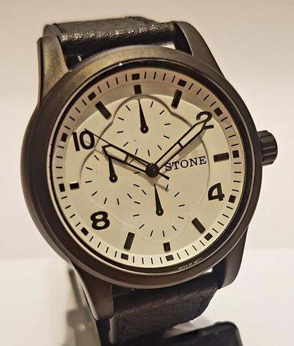 reloj stone quartz acero cuero original garantia st-092
