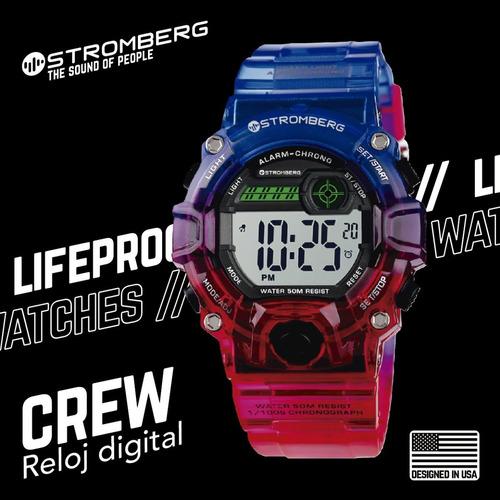 reloj stromberg crew sumergible digital rojoazulado tamaño m
