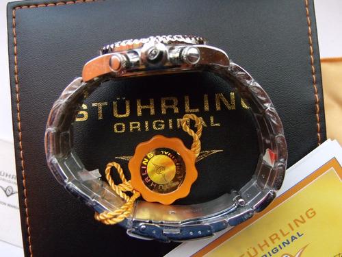reloj stuhrling original, crono suizo, para hombre f sp0