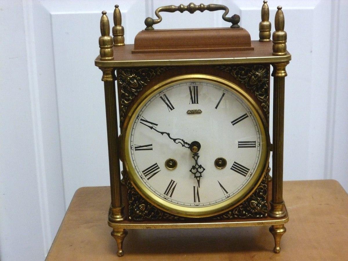 b2bab0dd90ca Cargando zoom... reloj suizo antiguo de dos cuerdas para mesa madera y  bronce