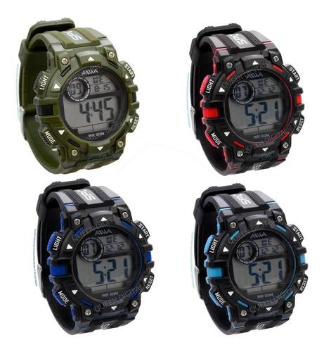 reloj sumergible 50.m deportivo hombre cronometro luz alarma