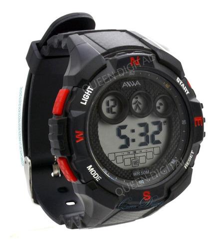 reloj sumergible deportivo alarma cronometro luz 50m aiwa q