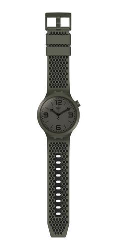 reloj swatch big bold unisex verde musgo y negro so27m100