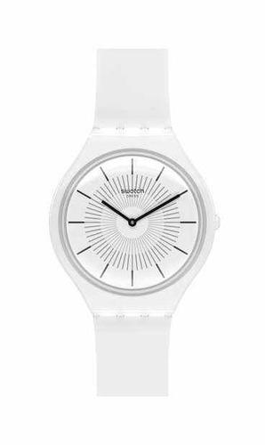 reloj swatch blanco de mujer extra chato skinpure svow100