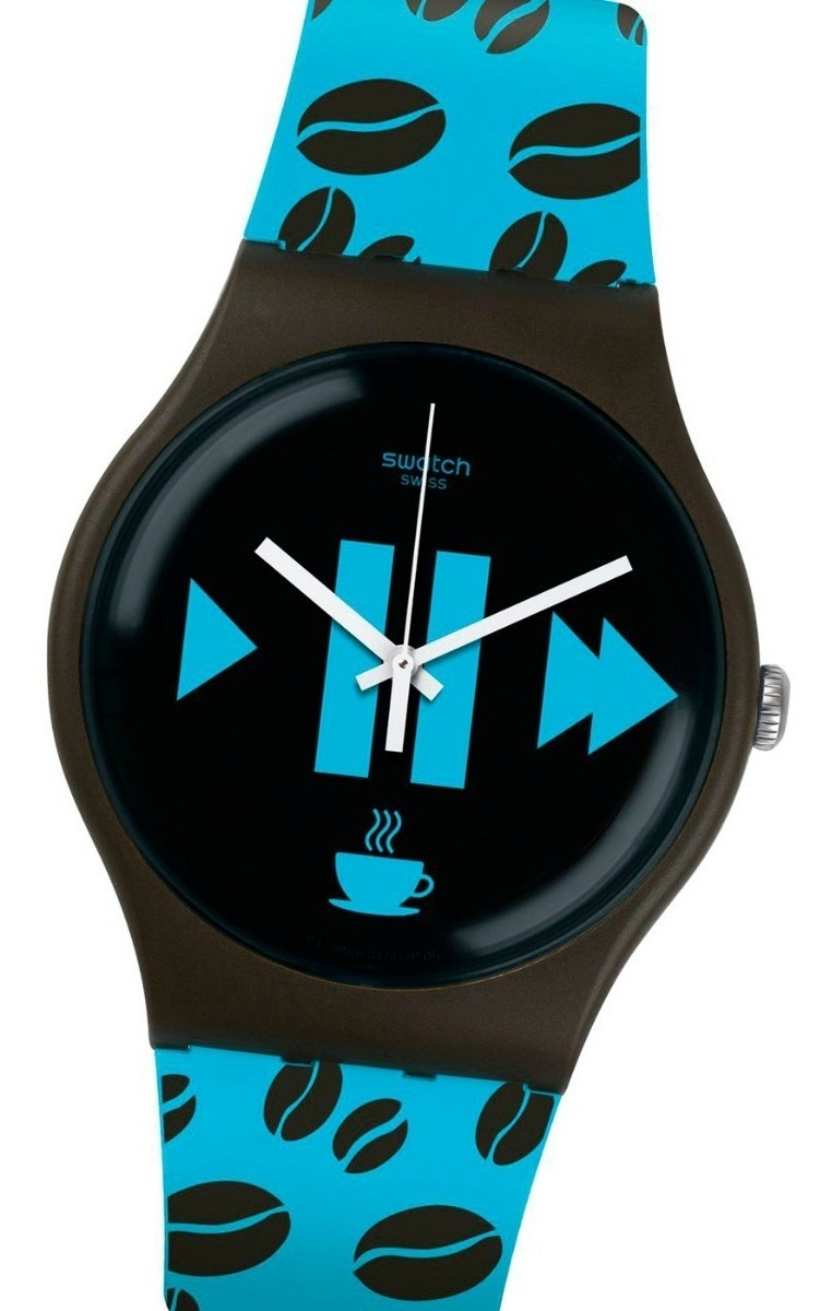 Coffee Malla Atm Reloj S Silicona Swatch Blue Suoc106 3 mNwn8yv0PO