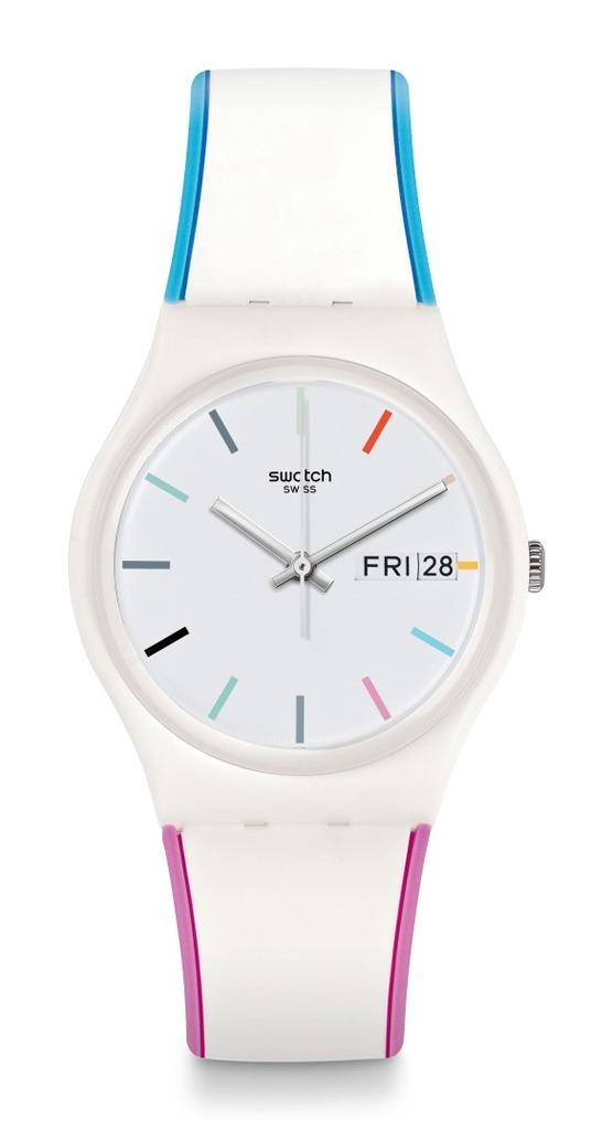 Rosa Y Swatch Edgyline Celeste Reloj Silicona Gw708 FK1J3Tcul