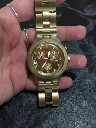 reloj swatch full blooded dorado svck4032g