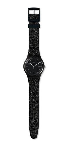 reloj swatch glitter negro de mujer con fecha mod. suob403