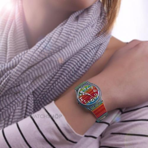 reloj swatch gs 124 goma 100% suizo importado original
