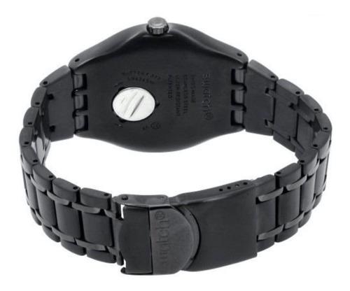 reloj swatch hombre gris smokeygator ywm400g malla acero wr