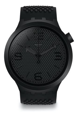 reloj swatch hombre negro big so27b100 malla silicona wr 30