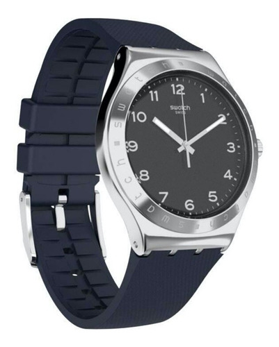 reloj swatch hombre plateado azul inkwel yws102 acero caucho