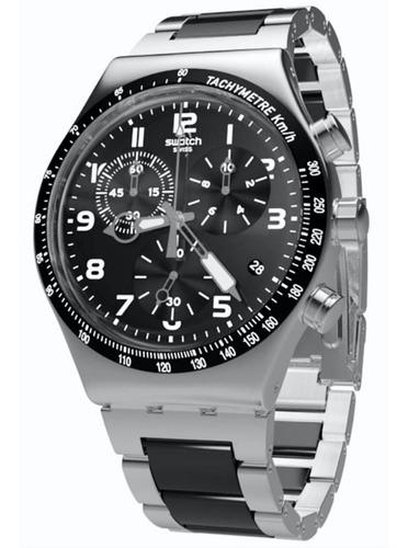 reloj swatch hombre plateado yvs441g irony chrono acero