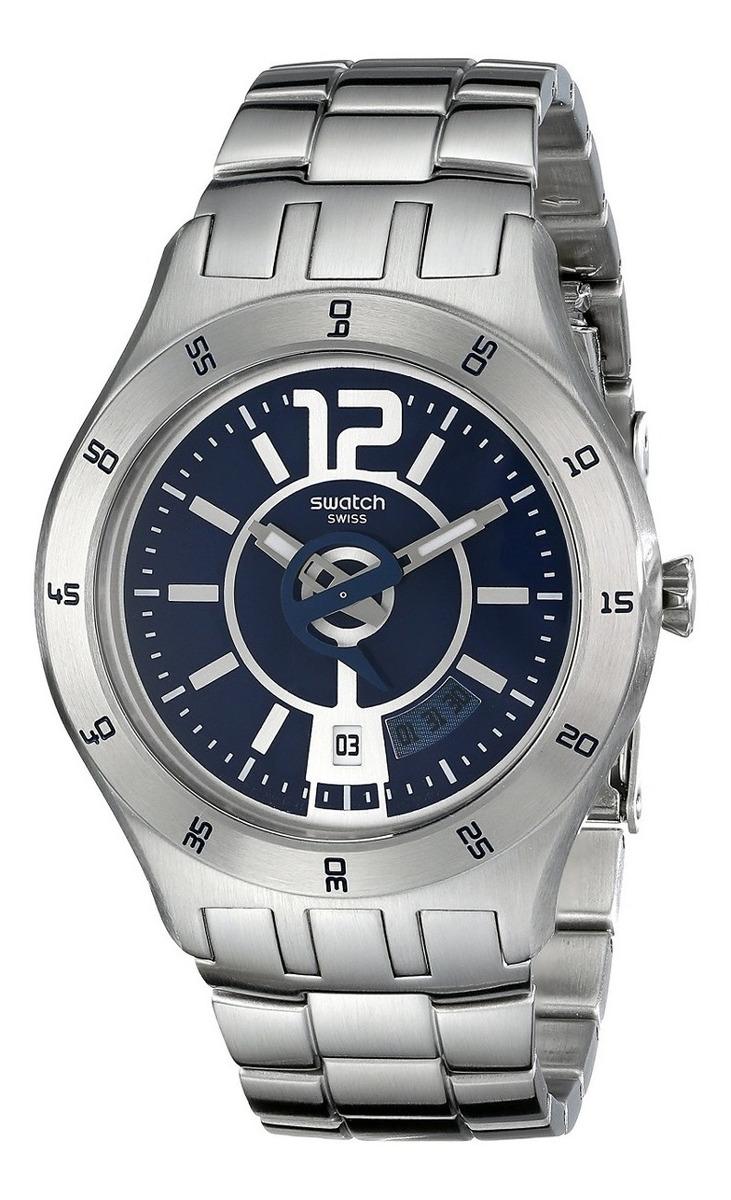 Reloj Swatch Hombres Yts404g Cuarzo Fecha Dial Azul Acero In