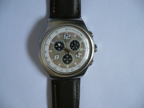 reloj swatch irony aluminio malla de cuero