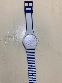 Reloj Y Blanco Líneas Swatch Azul Rayas 9EDYH2IW