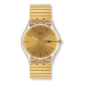 Reloj Swatch Malla Elastizada Dorado Suok702 Dazzling Light