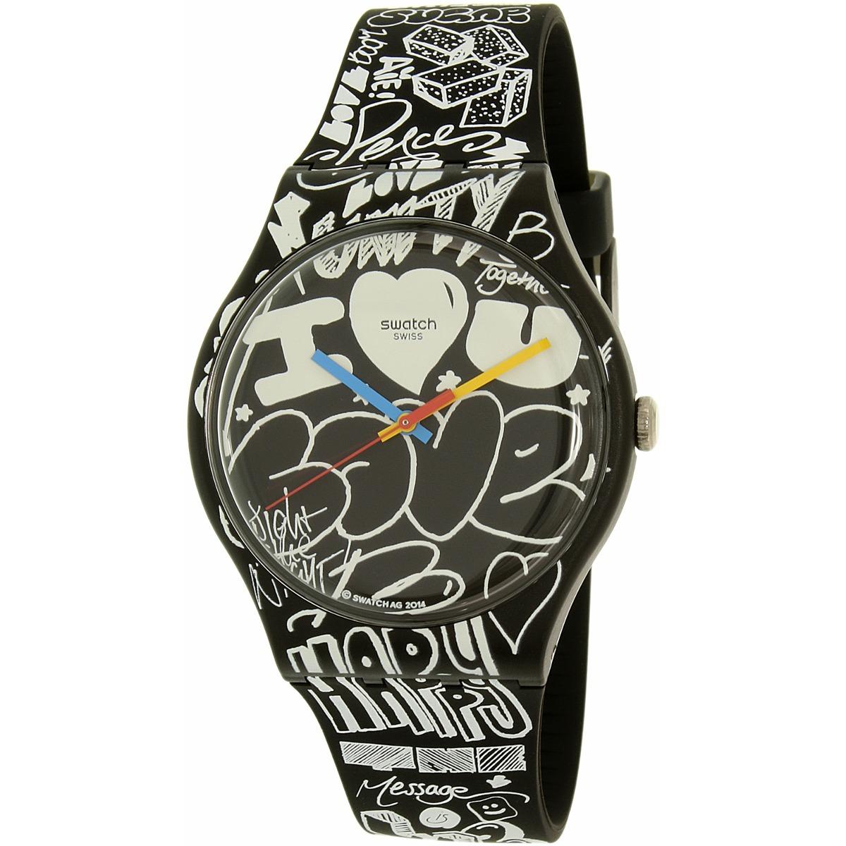 20745945ad93 Reloj Swatch Para Mujer Suob125 Negro blanco Correa De -   7.002