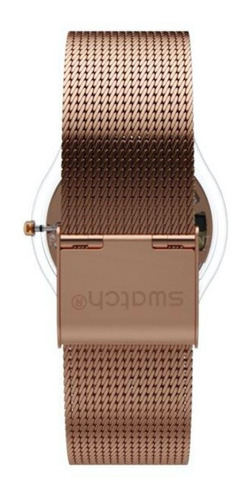 reloj swatch mujer dorado rose sfp115m malla tejida metal wr
