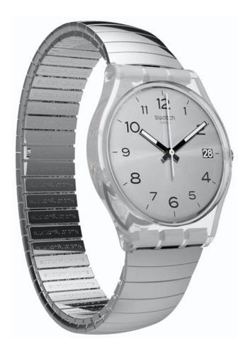 reloj swatch mujer plateado silverall gm416 talle a acero wr